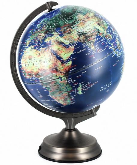 Globe terrestre lumineux 32x44cm