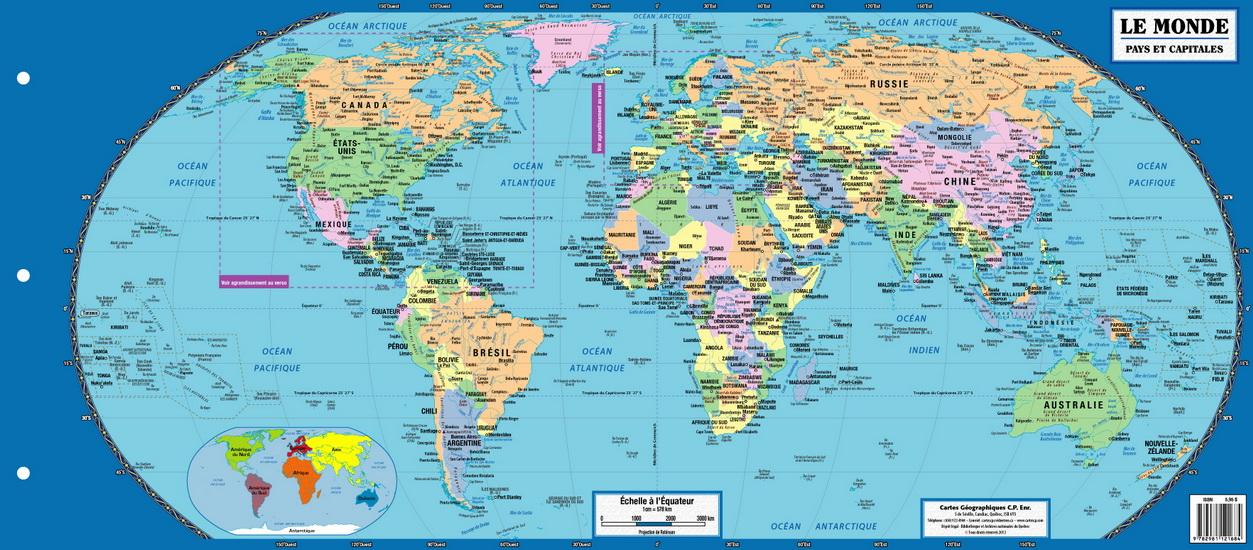 Carte géographique du Monde | Archambault