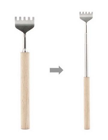 Gratte-dos manche en bois télescopique