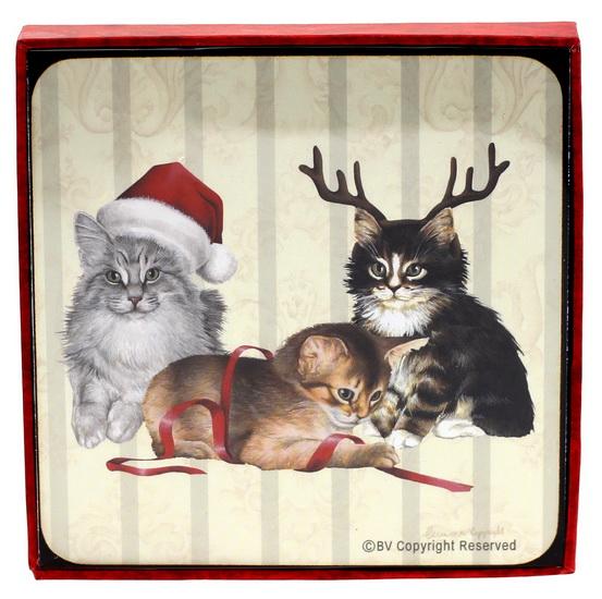 Ens. 4 sous-verres Chats tuque Père Noël