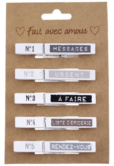 """Ens. 5 pinces en bois """"À faire"""""""