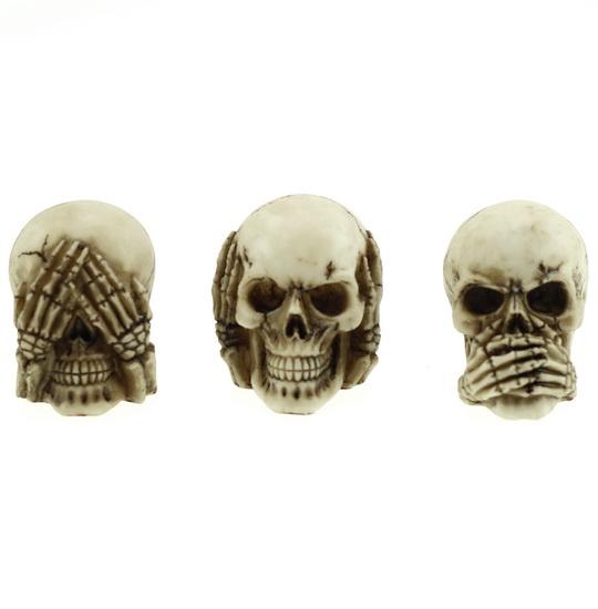 Ens. 3 crânes ne rien voir, ne rien entendre, ne rien dire