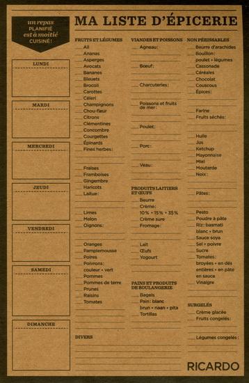 Liste d'épicerie Ricardo 52 feuilles