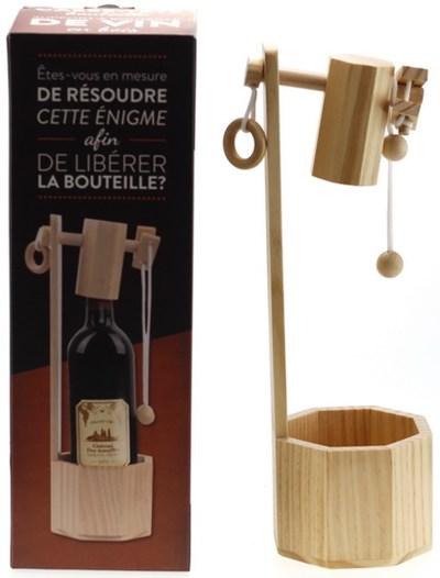 Support bouteille vin casse-tête en bois