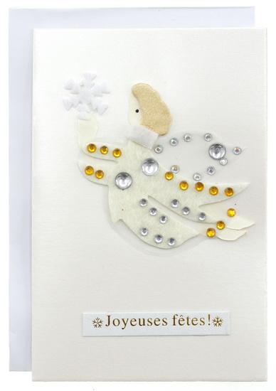 """Ange argenté """"Joyeuses fêtes!"""""""