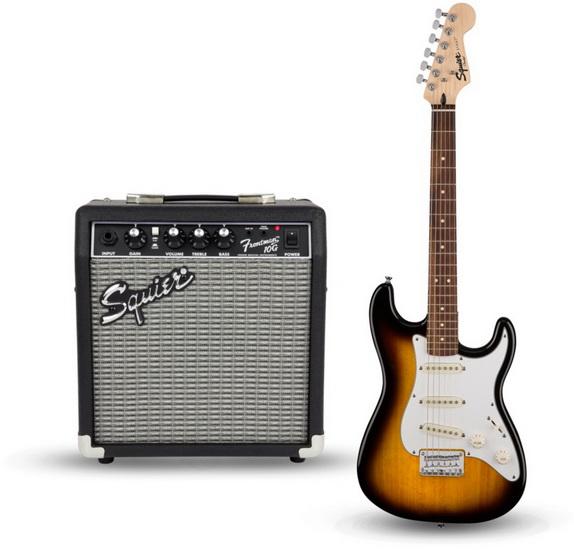 Ensemble De Guitare Électrique Brown Sunburst SSS Junior