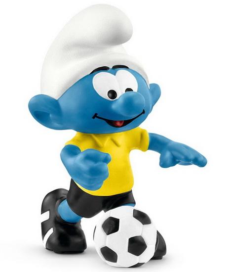 Figurine Schtroumpf joueur de soccer avec ballon