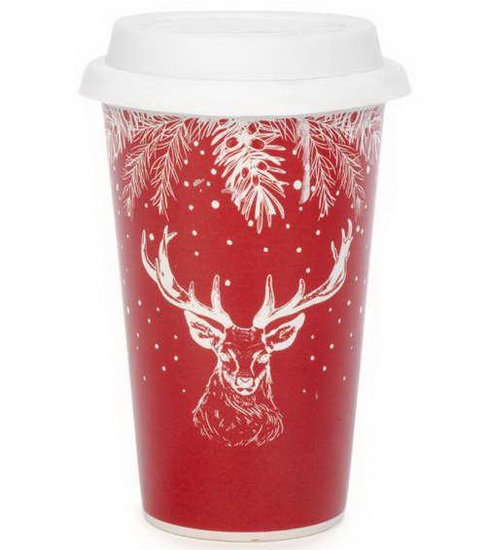 Tasse de voyage Cerf rouge et blanc