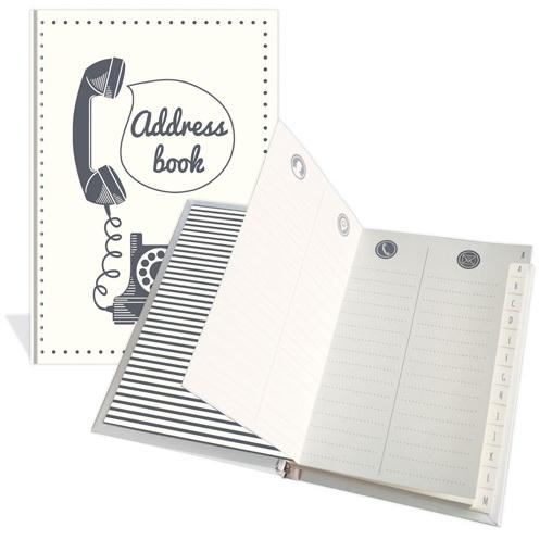 Carnet d'adresses Téléphone noir sur fond blanc