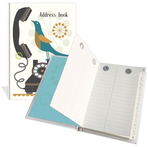 Carnet d'adresses Oiseau sur téléphone noir