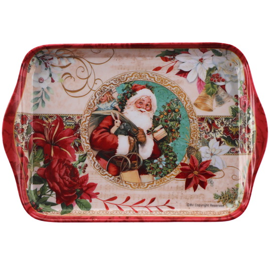 Plateau rectangulaire Père Noël et sapin