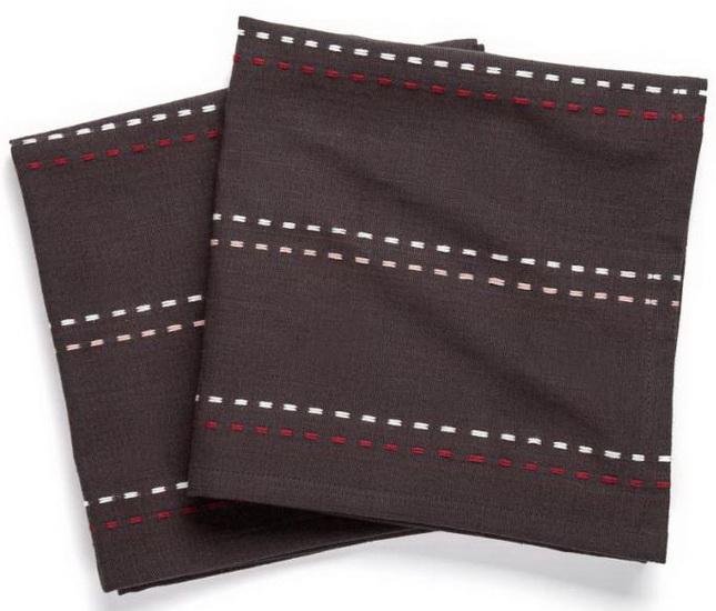 Ens. 2 serviettes de table tissu grise avec rayures surpiquées